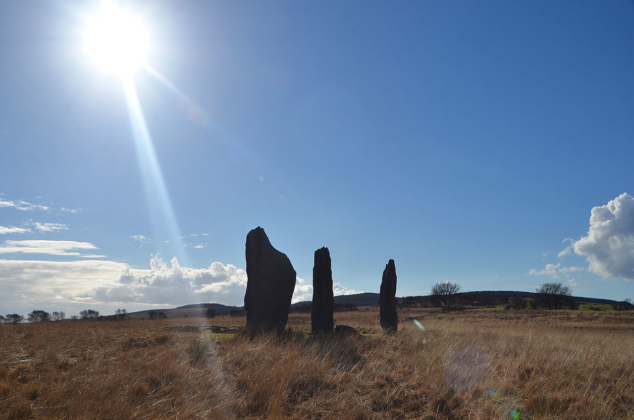 Arran  Beauty In Nature Grass Growth History Isle Of Arran  Landscape Machrie Moor Nature No People Outdoors Scenics Scotland Scotland 💕 Scotlandsbeauty Sky Standing Stones Stone Age Stone Circle Sun Sunbeam Sunlight Tranquil Scene Tranquility