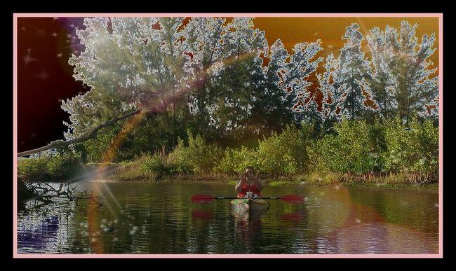 Kayaking in Robbinson Preserve Enjoying Nature Photoedit