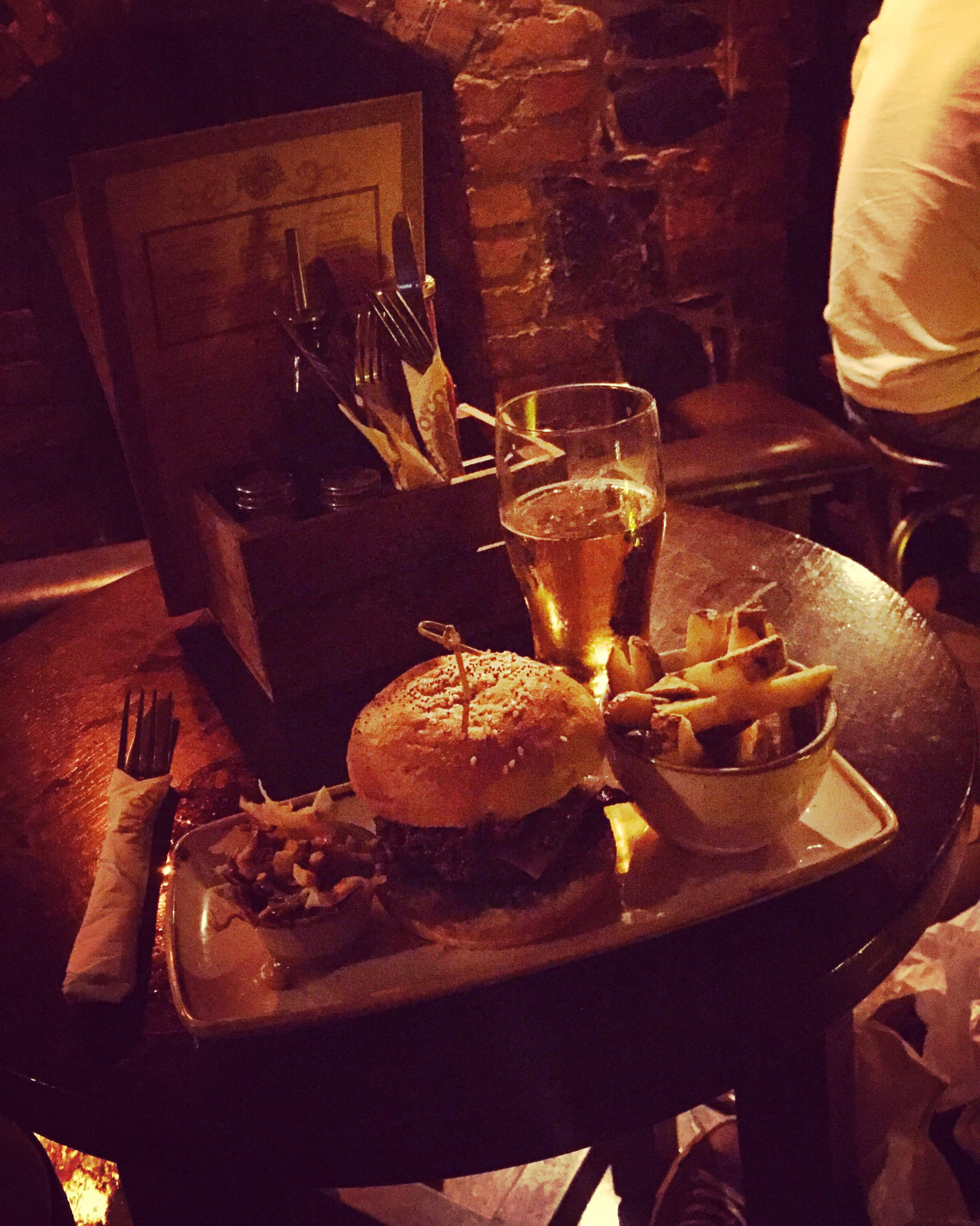 food and drink, table, indoors, food, drink, plate, freshness, drinking glass, unhealthy eating, alcohol, no people, hamburger, close-up, ready-to-eat
