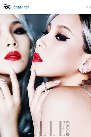 Koreangirl Myidol Chaelin_cl Elle Magazine. Just love her voice,her style, her beautiful face, her pretty skin & she is a smart girl. That's it 👱❤👍 ceo reo iyeyo