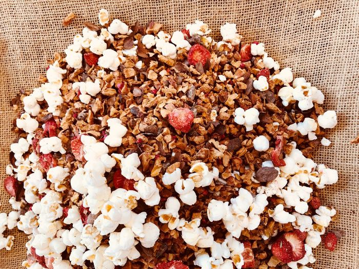 Breakfast Cereal Muesli Chocolate Popcorn Popcorns Food And Drink Food Raisin Sweet Food Indoors  No People Freshness High Angle View Indulgence Dried Fruit Directly Above Close-up Ready-to-eat Healthy Eating