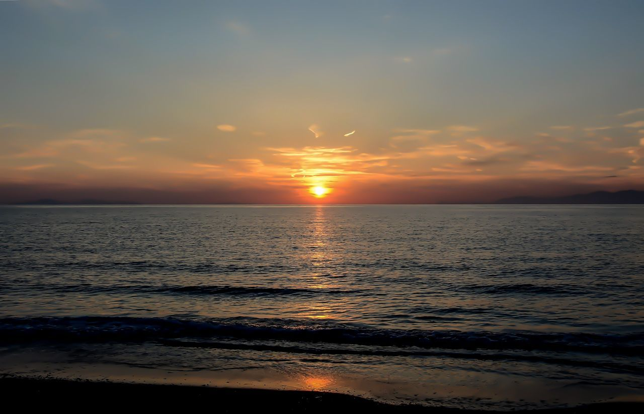 Beach Beauty In Nature Horizon Over Water Idyllic Nature Orange Color Outdoors Reflection Scenics Sea Silhouette Sky Sun Sunset Water Wave