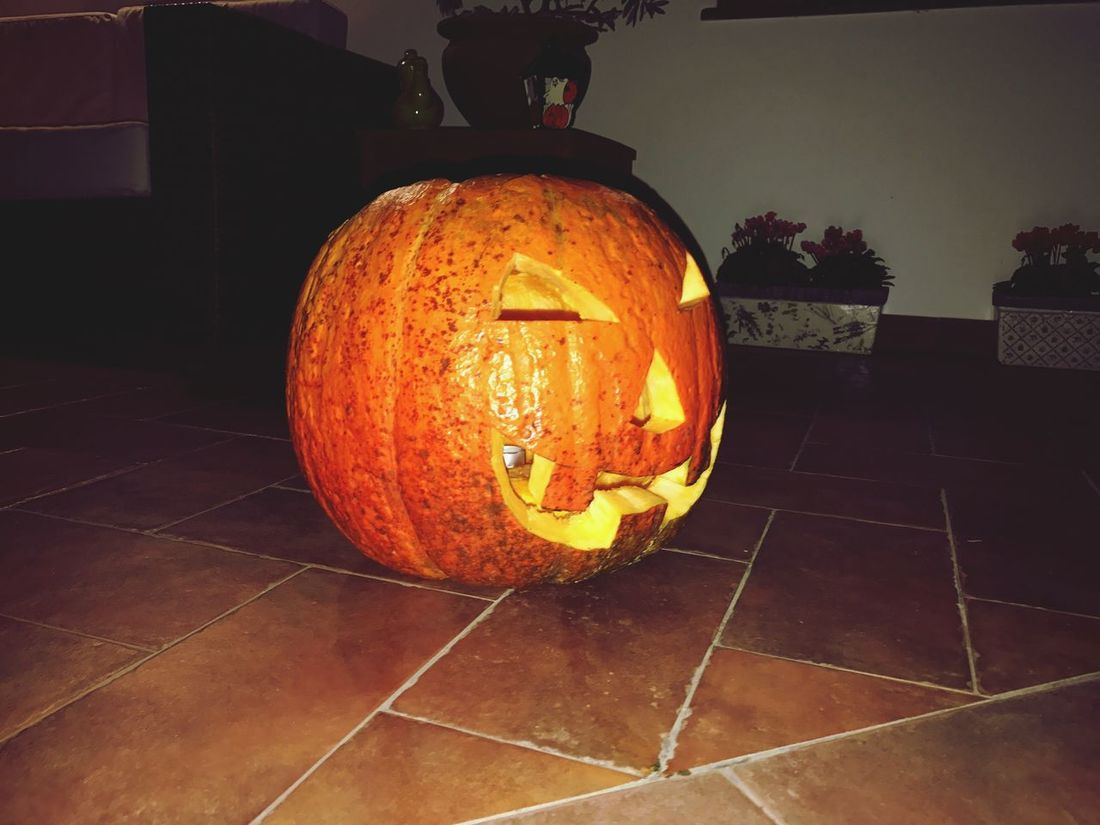 Pumpkin Orange Color Halloween Anthropomorphic Face No People Jack O Lantern Illuminated Indoors  Day Halloween Italy Roma