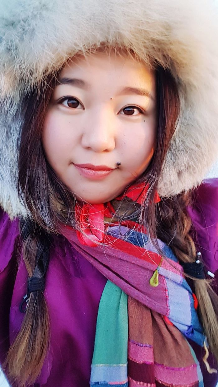 typical mongolian girl Portrait Selfie ✌ Front View Only Me ❤❤❤ Me Typical Mongolian Girl National Costume Mongolia 2018 Deel Warm Clothing Snow In Winter Stay Warm One Person Close-up Human Face Pink Color Looking At Camera