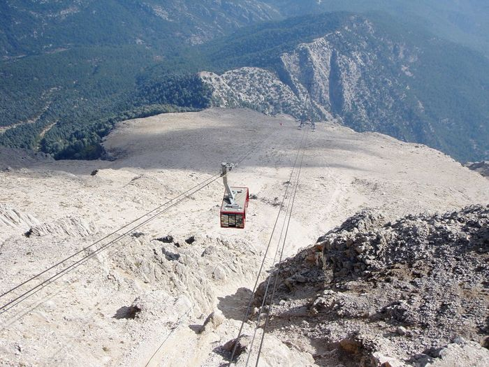 Transportation Public Transportation Tahtali Mountain High Angle View Mode Of Transport Tourism Cable Ropeway Nature No People Turkey Outdoors Day Landscape