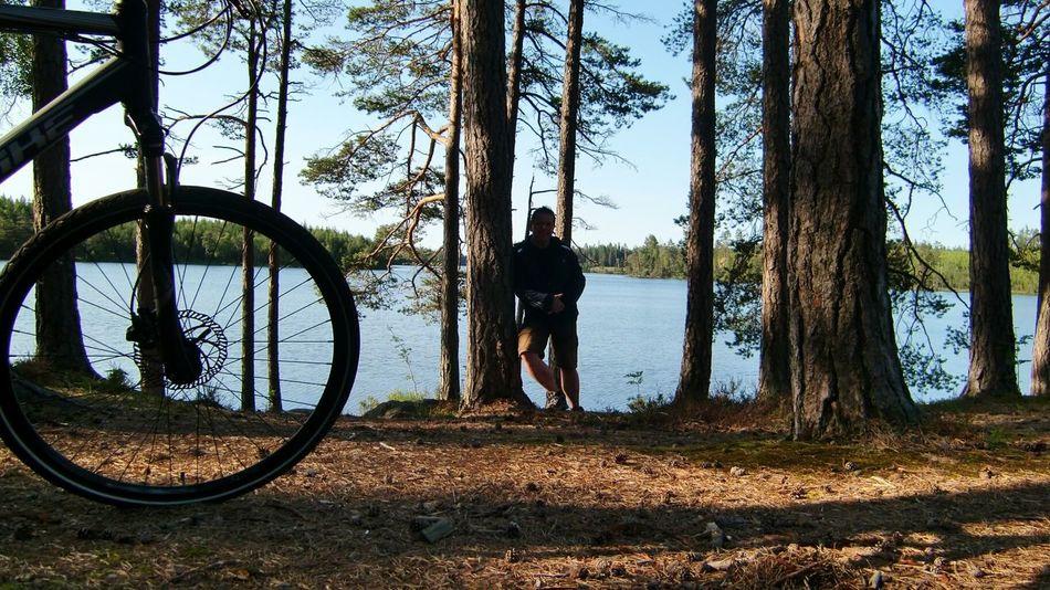 mit dem bike durch Schwedens Wälder Selfie ✌ Biketour Sweden Scandinavia Schweden Sverige Sjo Leisure Activity Outdoors Nature Tree Forest Lake Västra Götaland Skog Bike Lake View Blue Sky RalfsSchweden Sky