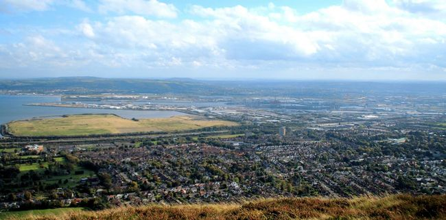 The view from Cavehill over Belfast City. Belfast Blue Sky And Clouds Cavehill City View  Grass Landscape Mountain View Outdoors Port Scenics Top Perspective