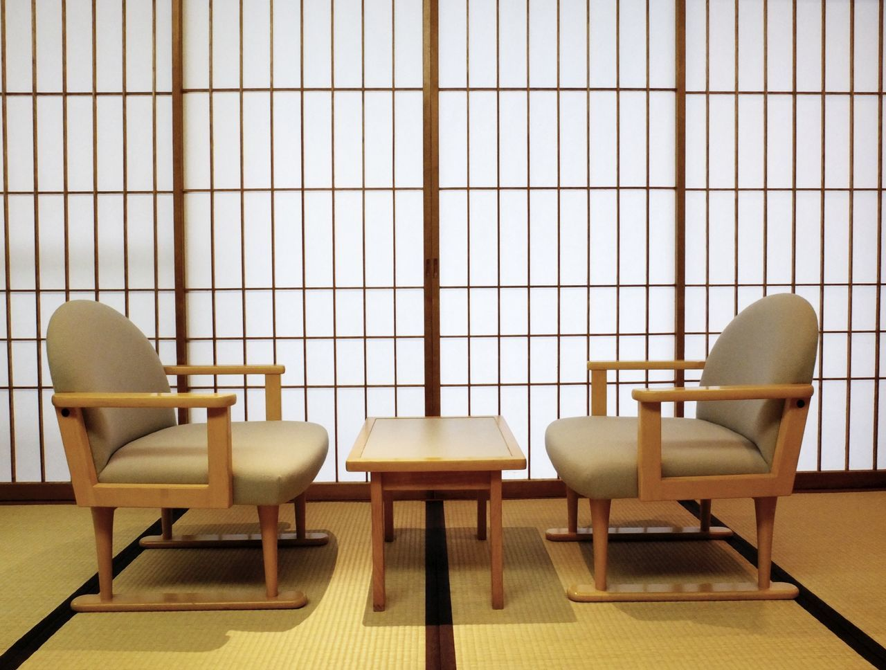 Japanese room: Tatami, shoji sliding doors, table and chairs Architecture Architecture Chair Cultures Day Door Indoors  Japan Japan Photography Japanese  Japanese Culture Japanese Room Japanese Style Modern No People Shoji Shoji Screen Sliding Door Table Tatami Tatami Room Traditional Zen