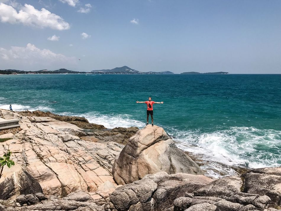 Sea Leisure Activity Full Length Standing Sky One Person Real People Lifestyles Rear View Rock - Object Water Beauty In Nature Outdoors Nature Day One Man Only Healthy Lifestyle Travelling Hiking Koh Samui Scenics Men Beach Horizon Over Water Athleisure