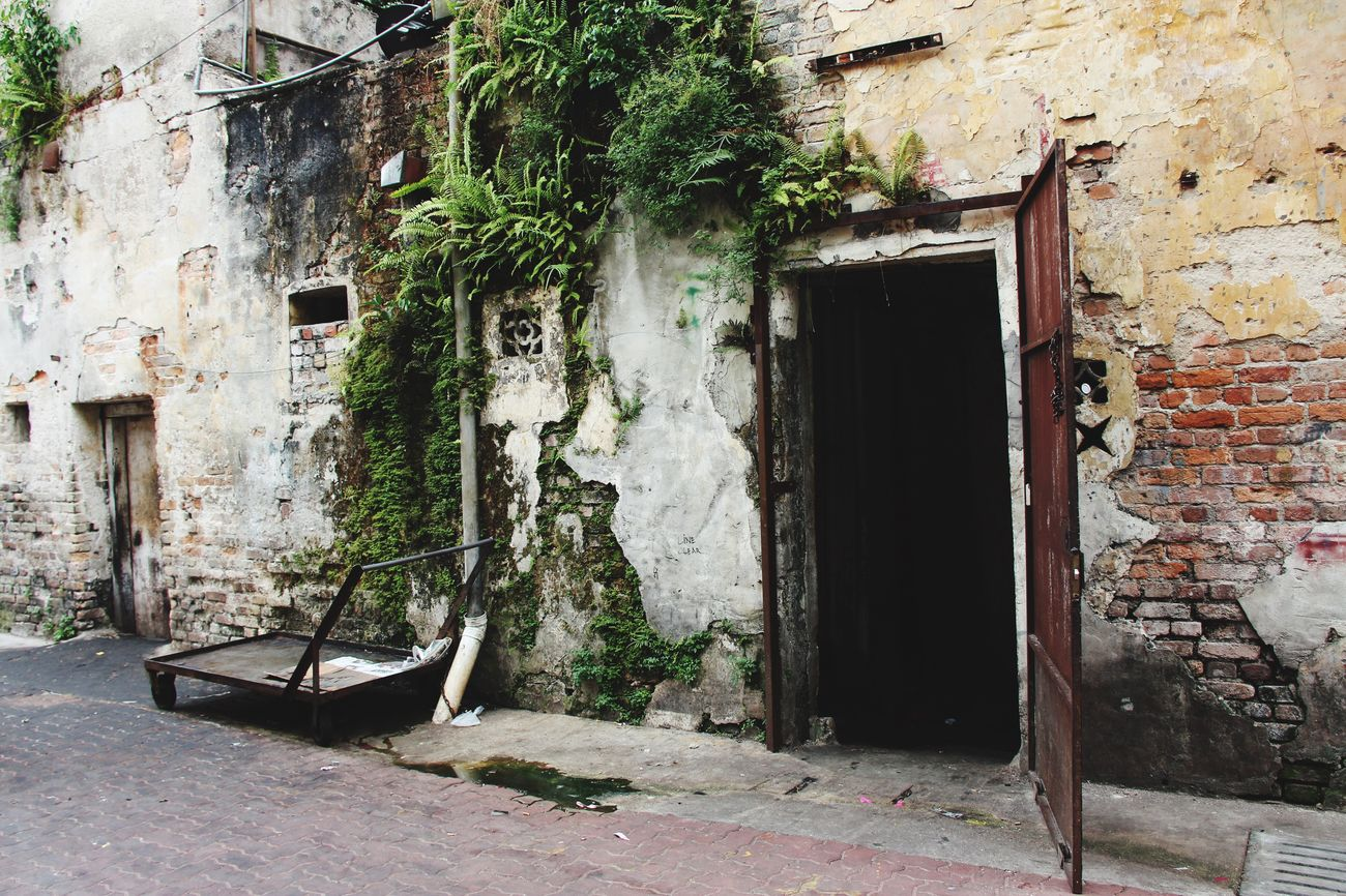 Kl Street Brick Wall Open Door Destroyed Hello World Plants On The Wall in Kuala Lumpur Malaysia  South East Asia