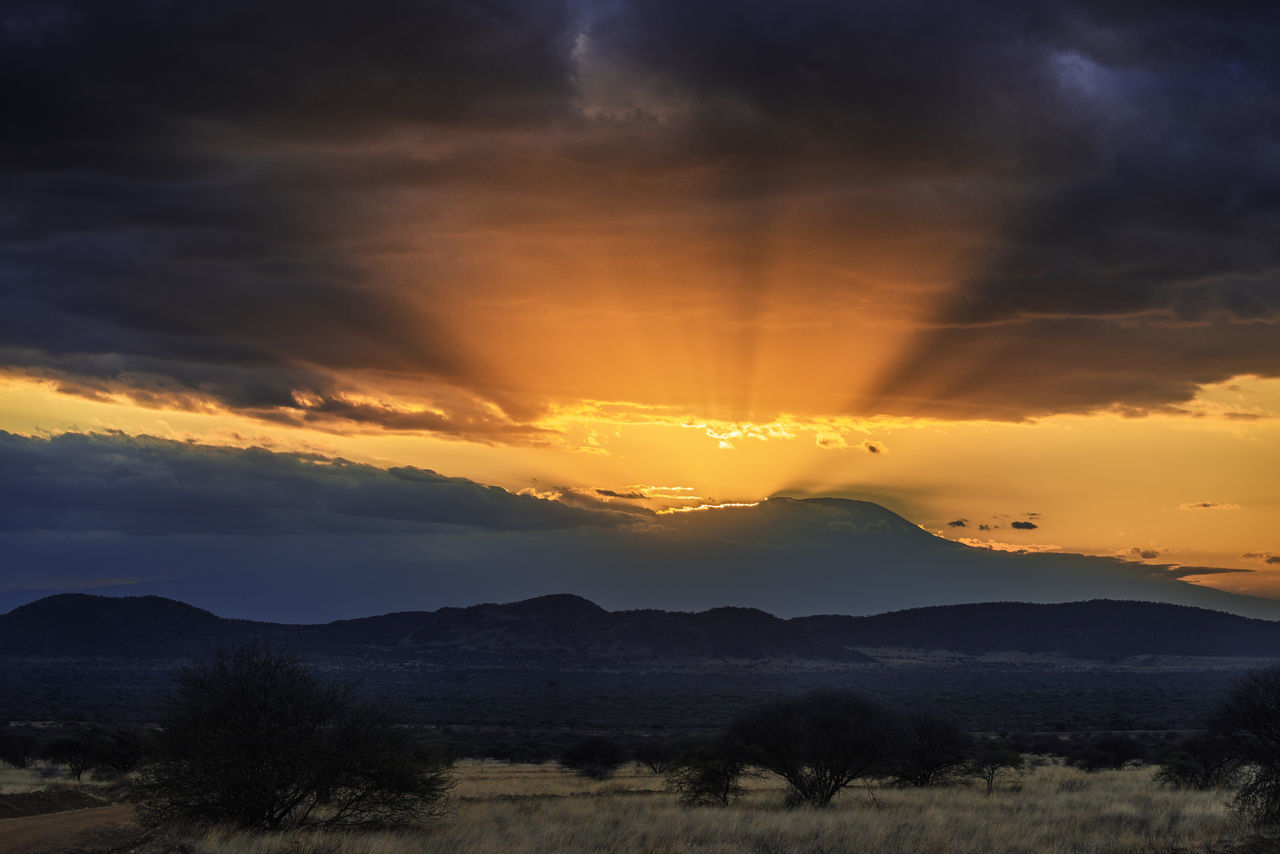 Sunset over Killimanjaro from Tsavo West National Park in Kenya. Cloud - Sky Dramatic Sky Dramatic Sunset Golden Hour Kenya Killimanjaro Landscape Mountain National Park Nature Outdoors Savannah Sky Sun Rays Sunlight Sunset Tsavo Tsavo West Wilderness