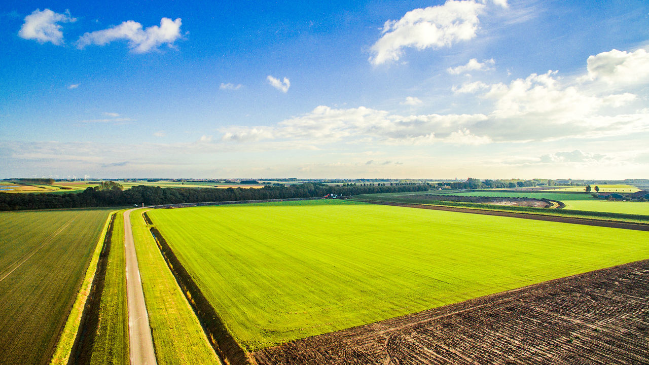 Landscape Sky Cloud - Sky Beauty In Nature Nature No People Day Outdoors Field Agriculture Scenics Grass Growth Crop  Green Holland Dutch Landscape Dutch First Eyeem Photo Dronephotography Droneshot Drone