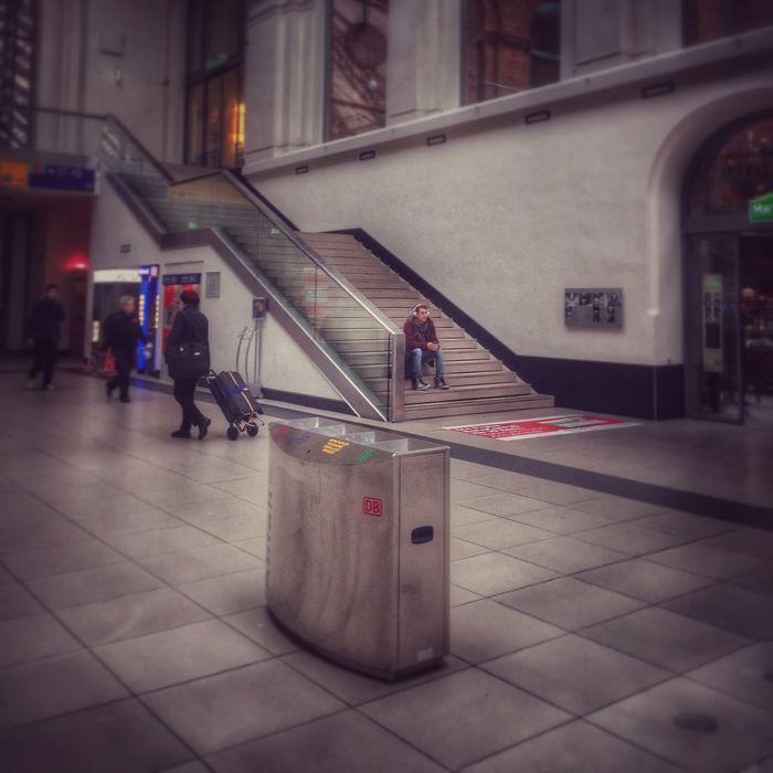 Waiting For The Train AtTheTrainStation Hauptbahnhof Hauptbahnhof Dresden Mobile Artistry Mobile Streetphotography Mobile Phone Photography