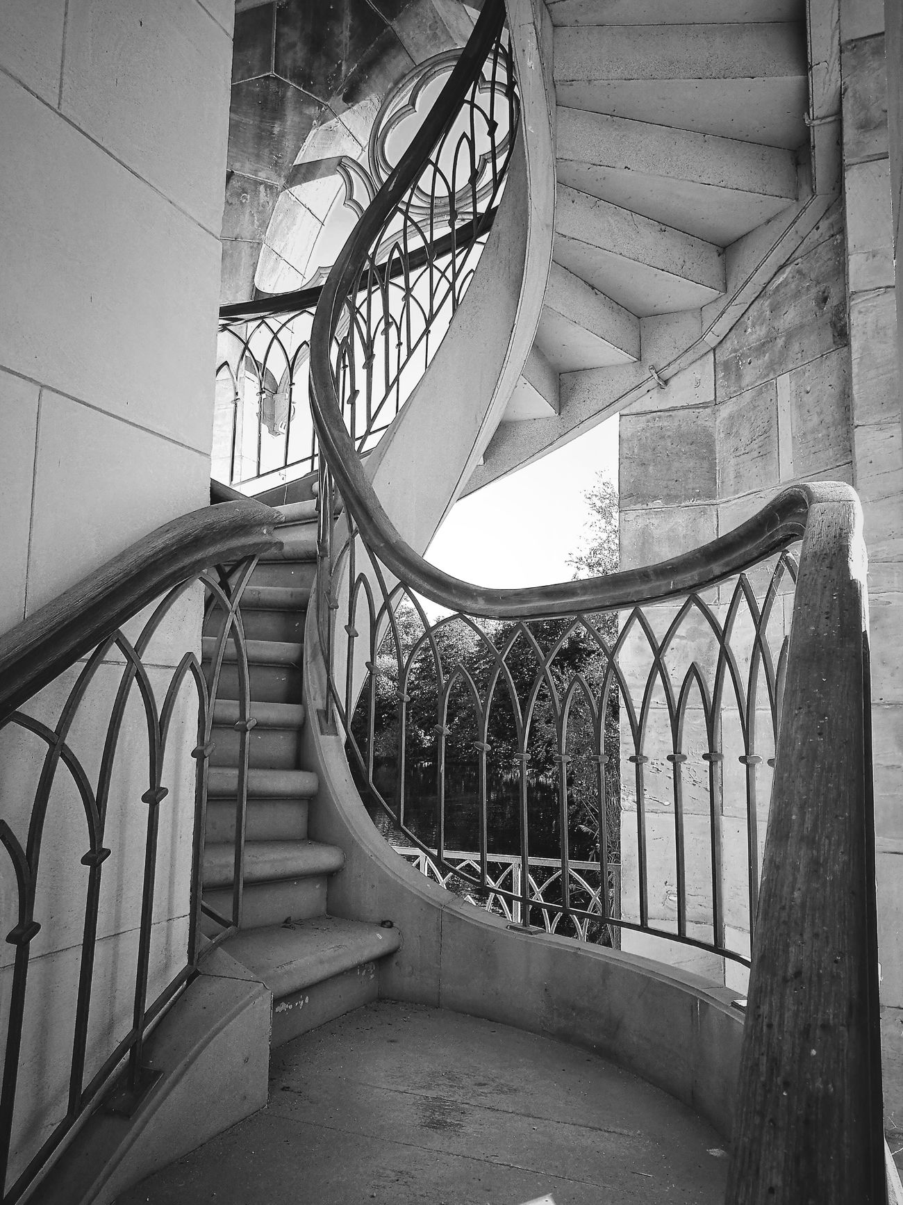 Treppenhaus. Built Structure Architecture Railing Steps Day Entrance Damaged Place Of Worship Arch Stairs Obsolete Sky No People King Of Prussia Potsdam Blackandwite Blancoynegro Black And White Photography