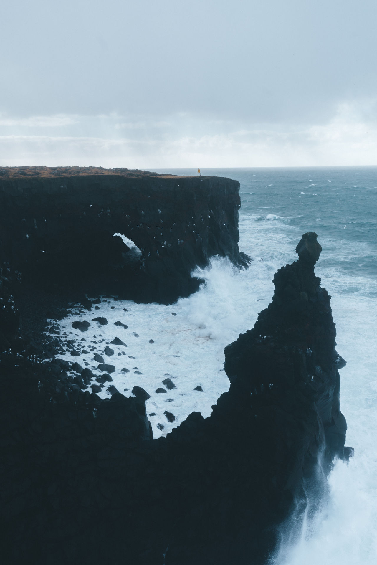 Iceland coast landscape with rough sea Beauty In Nature Day Horizon Over Water Nature No People Outdoors Rock - Object Rock Formation Scenics Sea Sky Tranquility Water Wave