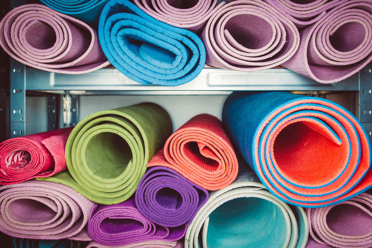 Arrangement Backgrounds Choice Close-up For Sale Gym Gymnastics Indoors  Large Group Of Objects Mat Multi Colored No People Rolled Up Rug Shelf Sport Stack Variation Millennial Pink