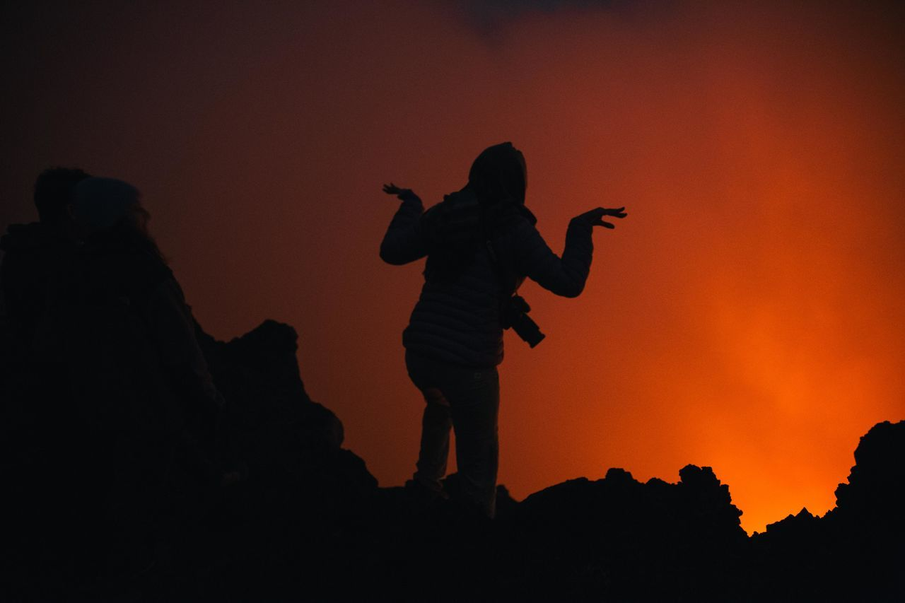 Adult Adventure Democratic Republic Of The Congo Full Length Fun Hiking Landscape Landscape_Collection Long Exposure Long Exposure Shot Mountain Mountain View Night One Person Orange Sky Outdoors Red Rock - Object Silhouette Sky Virunga Volcano