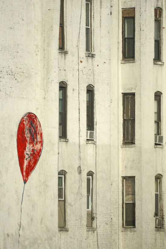 Red balloon Architecture Balloon Building Exterior Built Structure Chinatown Craving Day Dirty Graffiti Hope Hopes And Dreams House Houses And Windows Housing Manhattan New York City No People Outdoors Painted Painting Poor  Regular Run-down Windows Yearning