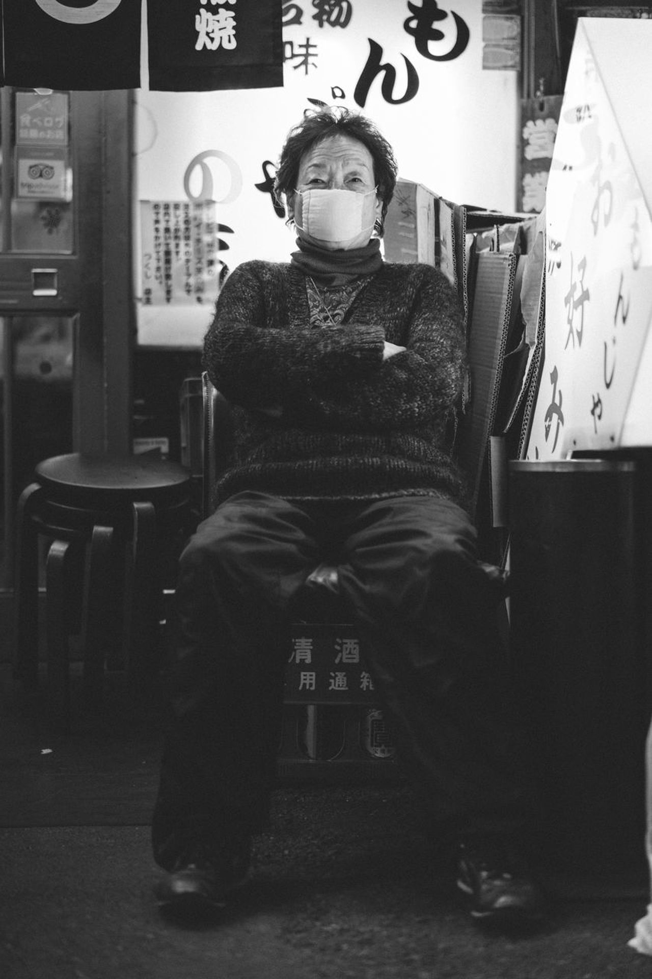 Attitude Chair Crossed Legs Defiance Elderly Woman Frontin Japan Mask Night One Person Real People Seating Sitting Street Photography Street Portrait Streetphotography Streetportrait The Street Photographer - 2017 EyeEm Awards Woman