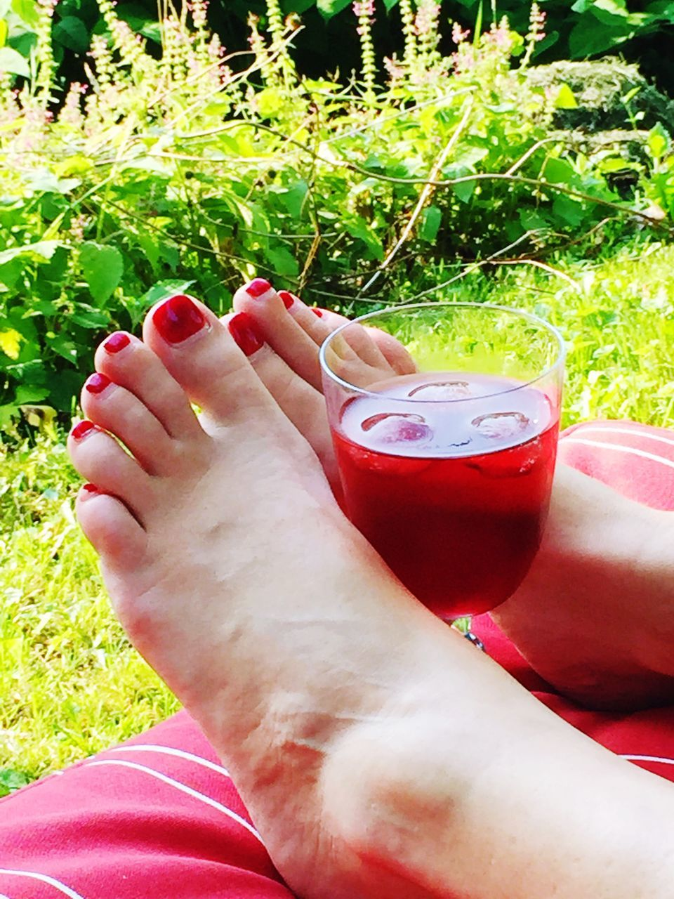 barefoot, low section, human leg, drink, refreshment, real people, red, human body part, human foot, food and drink, one person, leisure activity, personal perspective, grass, day, outdoors, alcohol, drinking glass, relaxation, women, close-up, nail polish, cocktail, lifestyles, nature, freshness, adult, people