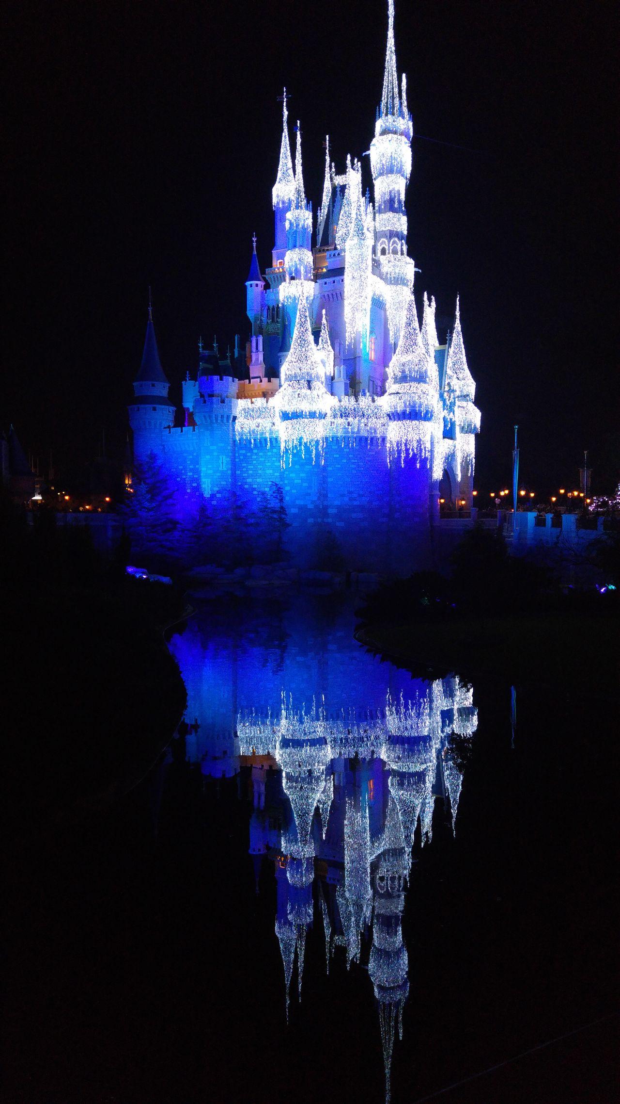 Disney Castle Lights DisneyWorld Cinderella Reflection Water