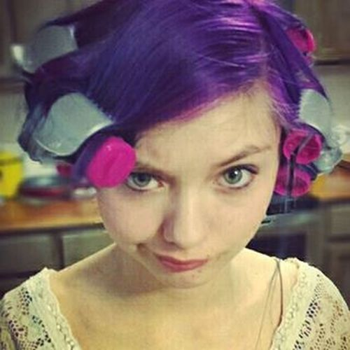 Curlers  Purplehairdontcare Thisgirl  Teenager Girl Hairstyle Styling Purple Hair Young Young Woman Getting Ready Let Your Hair Down