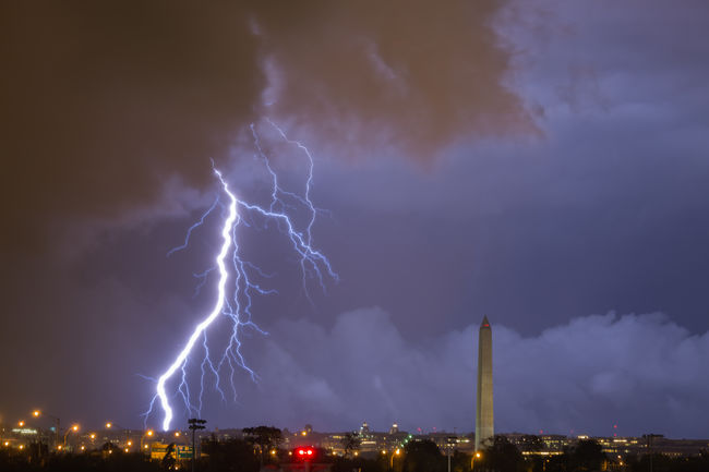 Lightning strikes near the Washington Monument as severe thunderstorms pass through the Washington, DC metro area Blue City Cityscape Cloud Cloud - Sky DC Dramatic Sky Illuminated Lightning Monument Nature Night No People Outdoors Power In Nature Sky Storm Storm Cloud Thunderstorm Washington DC Washington Monument Weather