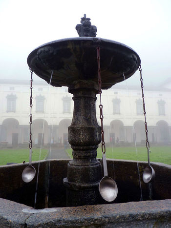 Architecture Bebedero Built Structure Fog Foggy Day Foggy Morning Medieval Medieval Waterer No People Oropa Travel Destinations Waterer Weather