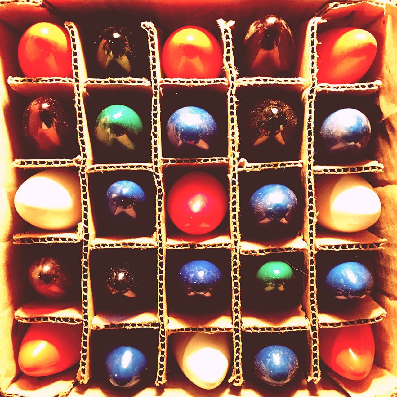 Colored Lights Group Of Objects Colorful Multi Colored No People Packaging Sections Organized Fragility Glass Lightbulbs Close-up No People View From Above Cardboard Corrugated Holiday Decorations Christmas Lights