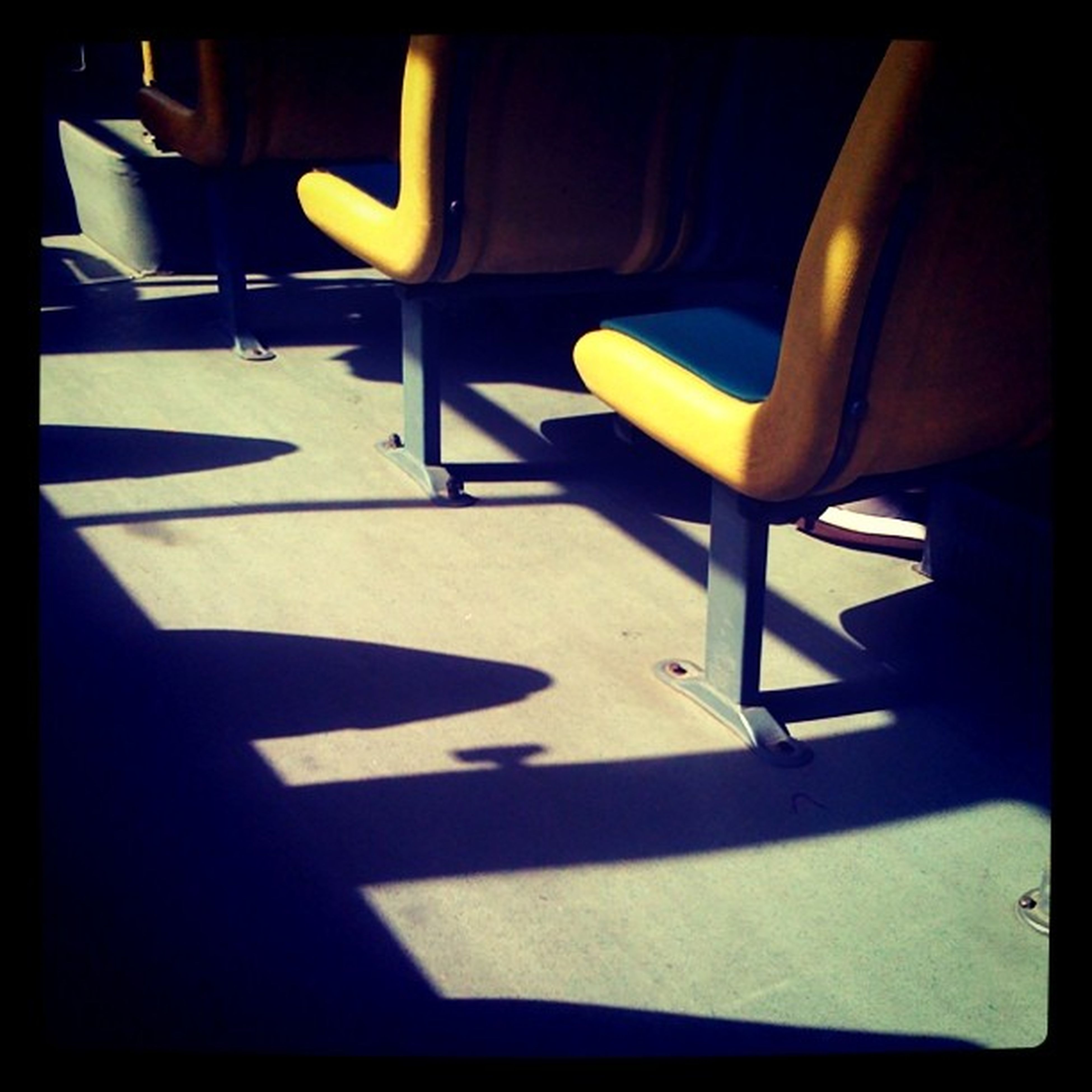 transfer print, auto post production filter, empty, chair, sunlight, absence, shadow, indoors, high angle view, seat, transportation, day, no people, table, street, bench, car, mode of transport, elevated view
