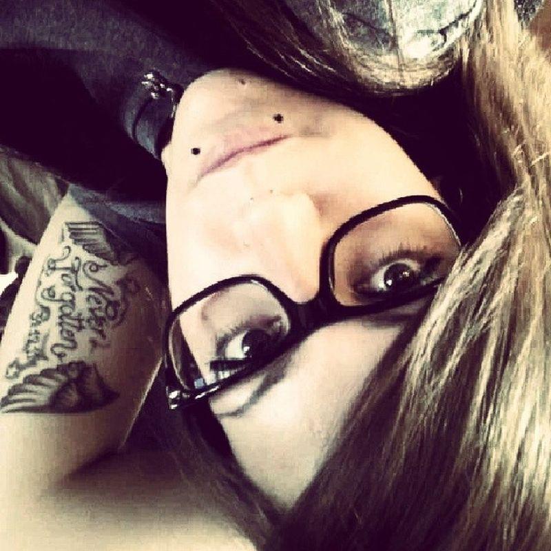 Selfie Me 2013 Girlswithink Tattoo Bigglasses Girlswithpiercings Snakebites Septum