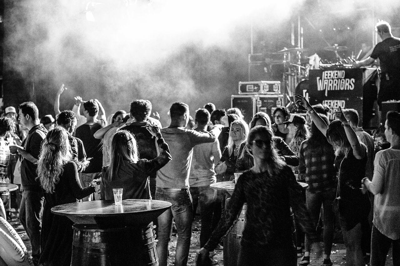 - Weekend warriors - Real People Crowd Large Group Of People Smoke - Physical Structure Togetherness Festival Concert Photography EyeEm Eye4black&white  EyeEm Best Edits EyeEm Gallery Eye4photography  EyeEm Best Shots Blackandwhite Monochrome Nikon Nikonphotography Moving Night Bonding Nightlife Arts Culture And Entertainment EyeEmBestPics Audience