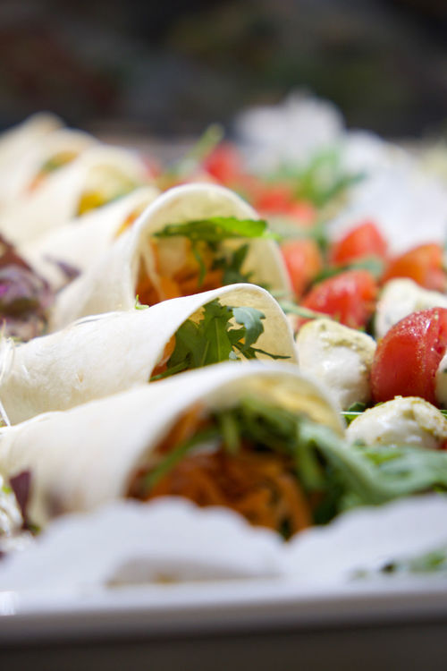 Buffet Close-up Fingerfood Food Food And Drink Freshness Healthy Eating Healthy Lifestyle Meal Organic Plate Ready-to-eat Salad Selective Focus Still Life Table Tomatoes Tomatoes. Vegetable Wrap