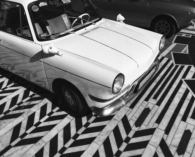 Zigzag... Transportation Mode Of Transport Car Land Vehicle Vehicle Hood Luxury Travel No People City Life Enjoying Life My Favorite Photo Found On The Roll Blackandwhite Black And White Pattern Transportation Bmw Outdoors Day BW Collection Vscocam Dramatic Angles