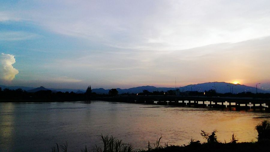 Sunset at Taksinmaharachanusorn Bridge, Mueang Tak, Tak.