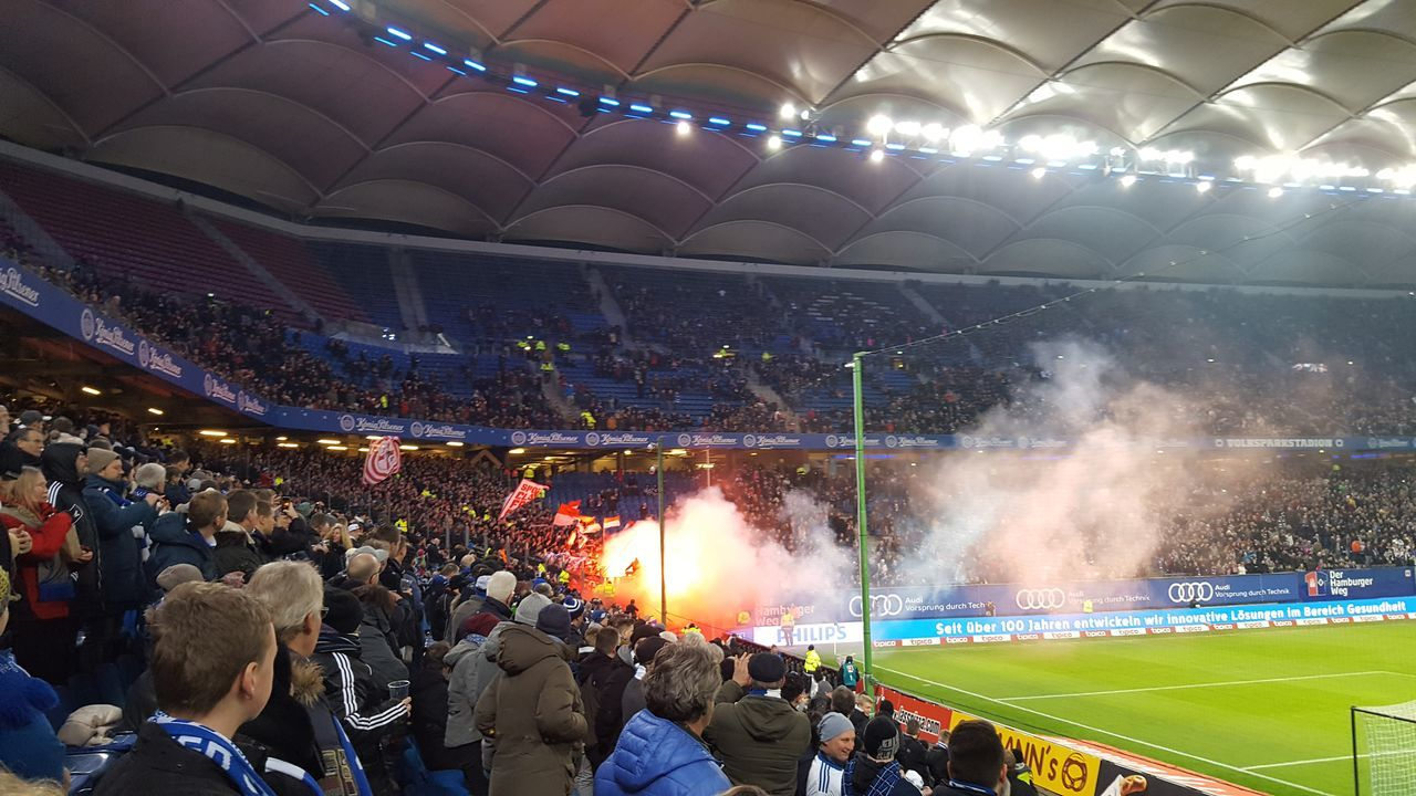 Large Group Of People Stadium Night People Match - Sport Outdoors Fans Hamburg Bundesliga Fussball Stadion Arena Volksparkstadion Nur Der HSV! Competitive Sport Athlete Teamwork Grass Soccer Field Sports Team Soccer Pyrotechnics Stupid Stupid People HSV