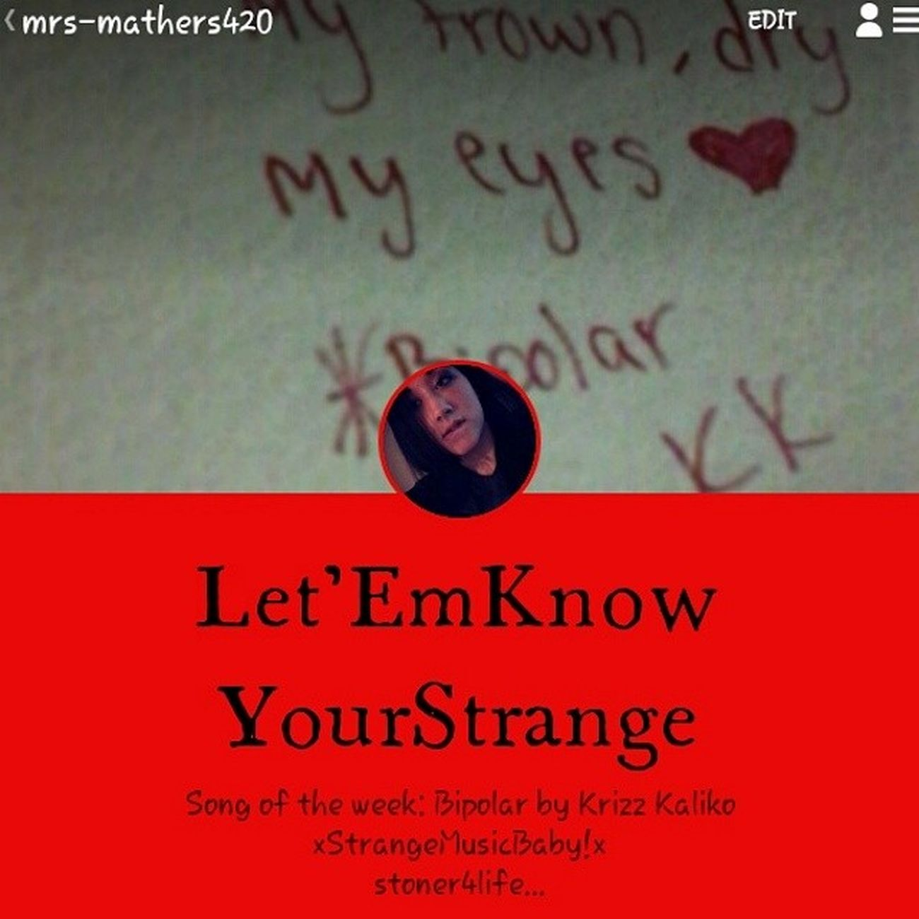 I would really like it if you would Followme on Tumblr , Ipromise  I will Followback ! Im going to be posting Videos and Stories and I really would like your guys Opinins soo if you have tumblr please follow me it will be Greatlyappreciated to know what Others think of my stories and such. :3 thanks. StrangeMusic Stoner Weed Deep Art Musicforlife  SUPPORT