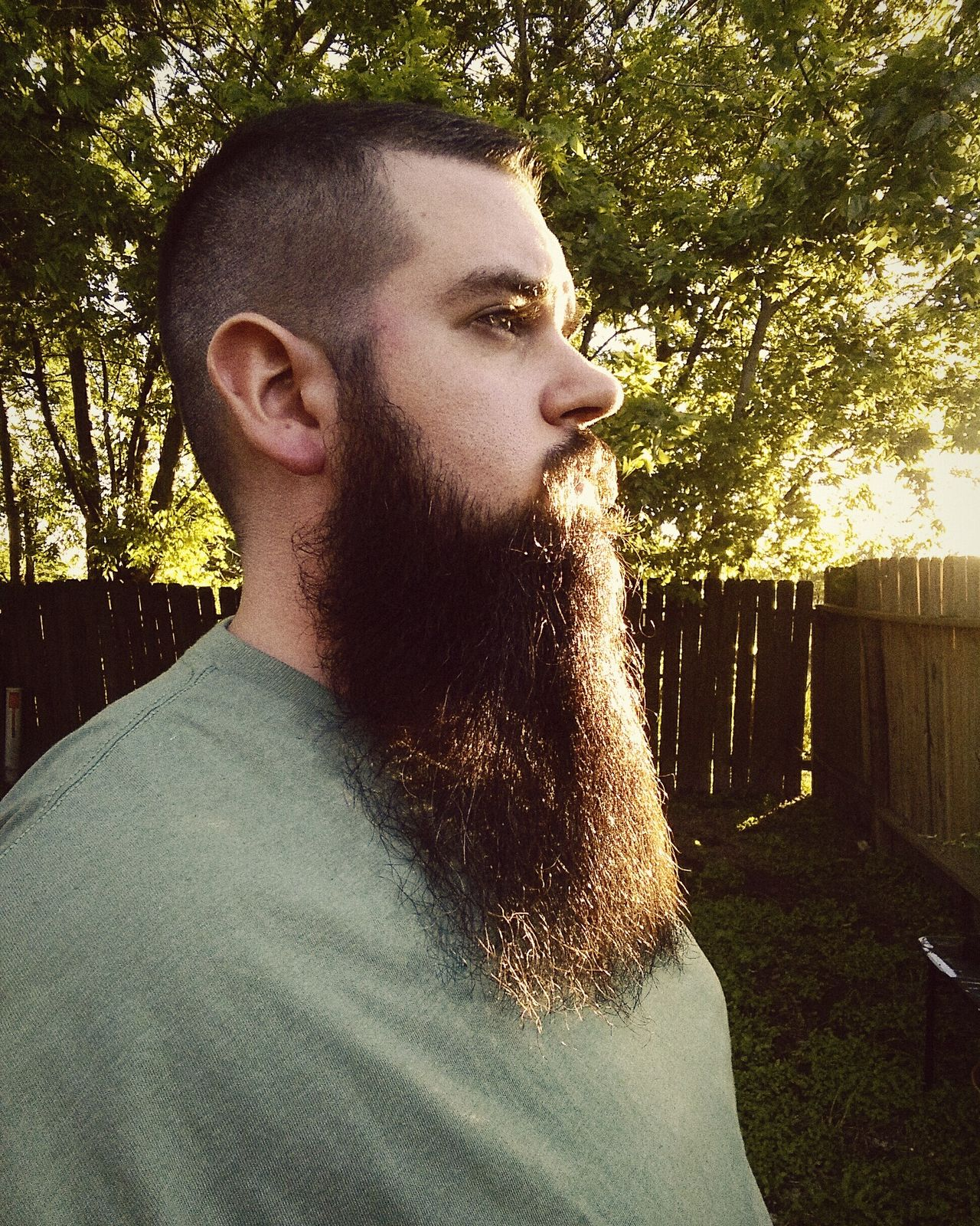 One Man Only One Person Day Outdoors Young Adult Side View Side Profile Beardman Beardedguy Beardporn Beard Bearded Beardedman Bearded Man Sunshine Through The Trees