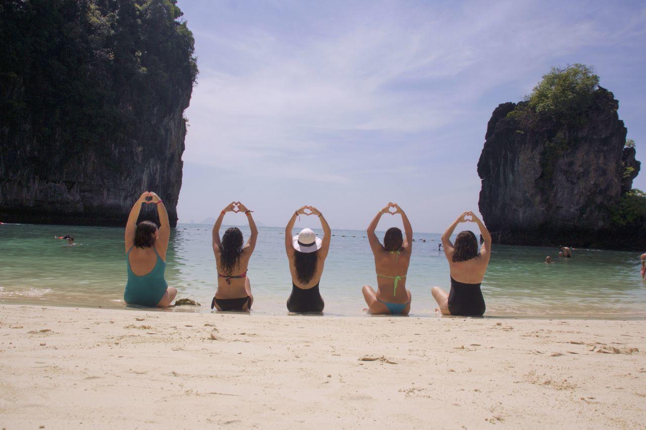Thailand Beach Day Friendship GirlsBeachDay Heart Shape Honglongbeach Horizon Over Water Nature No People Outdoors Sand Sea Sky Thailand Travel Vacations Water