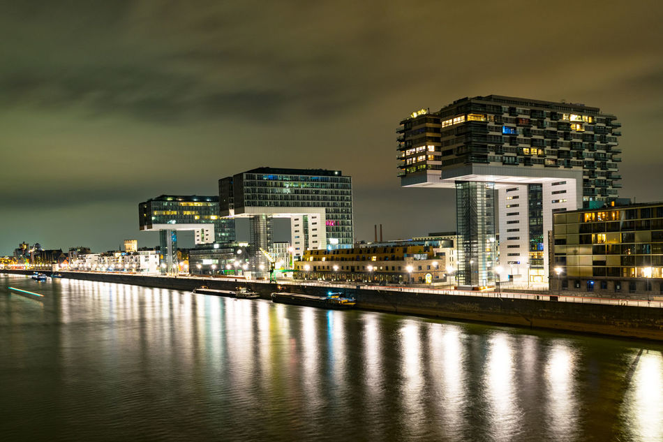 """Cologne by night: """"Kranhäuser"""" Architecture Building Exterior Buildings Built Structure Illuminated Modern Modern Architecture Night Night Lights No People Travel Destinations Urban Skyline Water"""