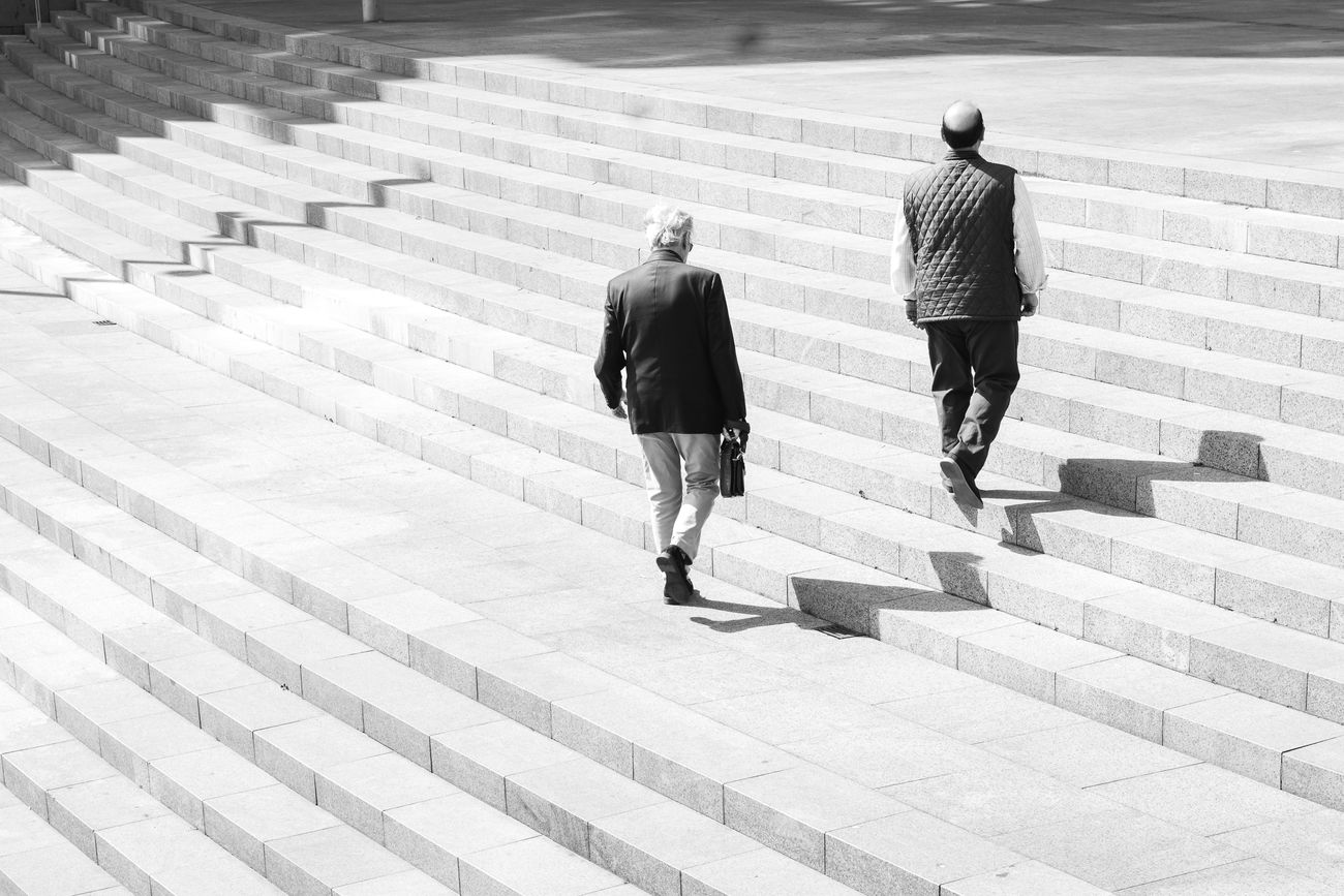 Upwards and Onwards! Adult Bilbao Black And White Blackandwhite High Contrast High Key Men Steps Two People Walking
