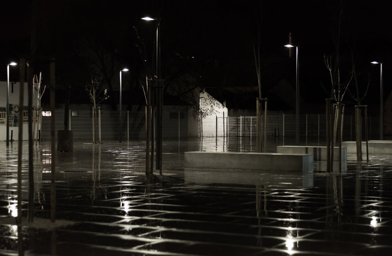 night, illuminated, water, reflection, no people, outdoors, building exterior