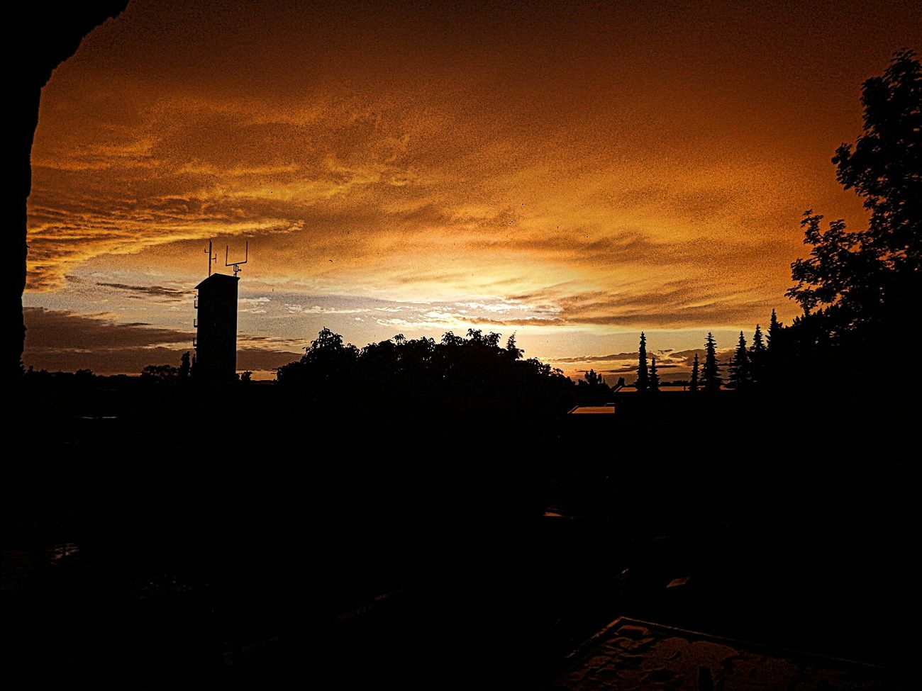 Golden Sky Sky And Clouds Tower Skyline Germany Viersen Firedepartment