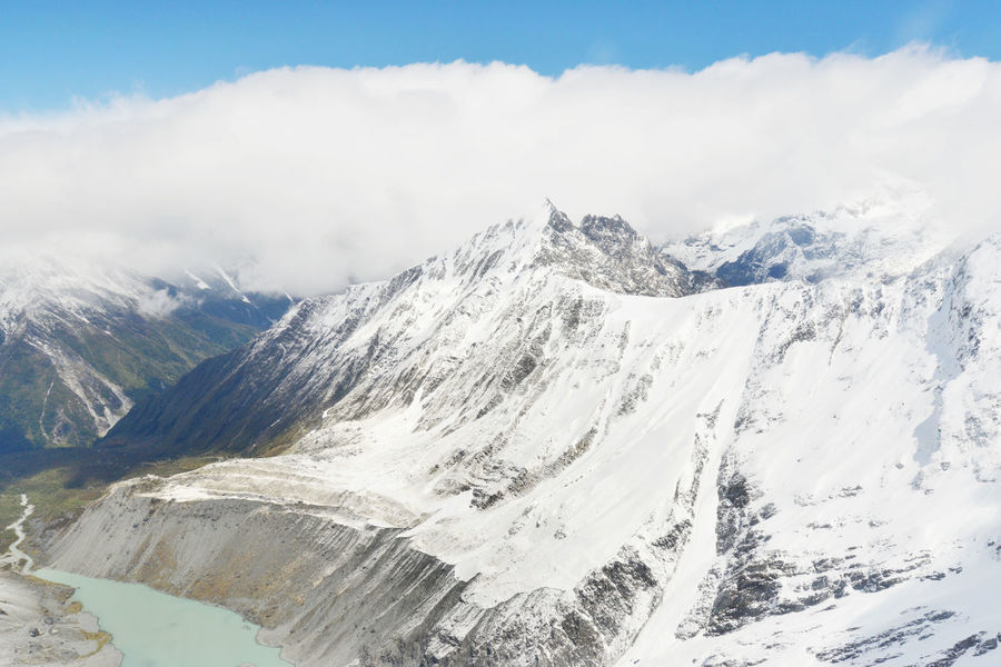 Aerial view of Franz Josef glacier from helicopter in New Zealand Aoraki Mount Cook National Park Beauty In Nature Day Franz Josef Glacier Helicopter Island Landscape Mount Cook Mountain Nature New Zealand No People NZ Outdoors Scenics Sky Snow South Island