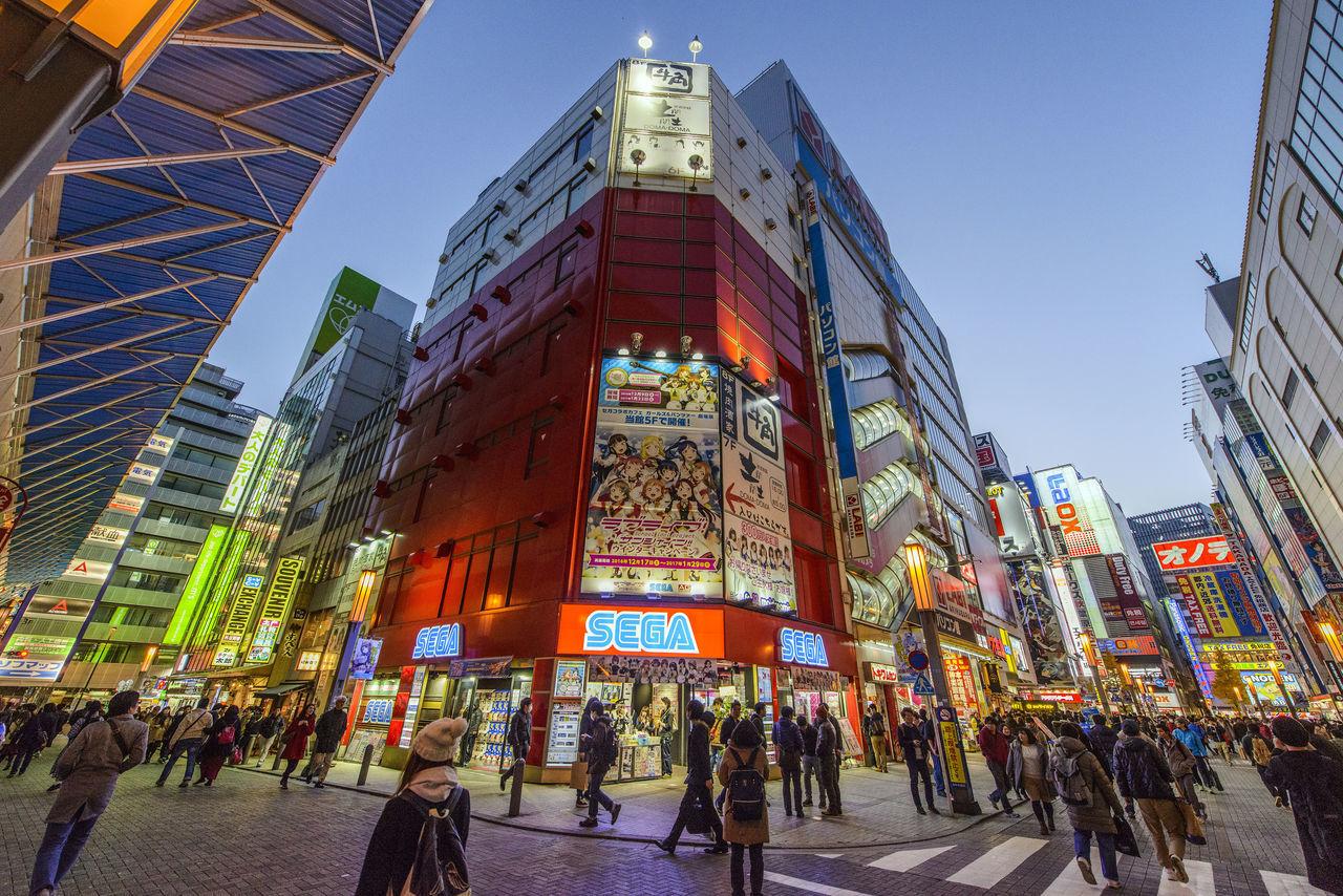 Akiba Akihabara Building Exterior Buildings Crossing Crowd Illuminated Signs Large Group Of People People