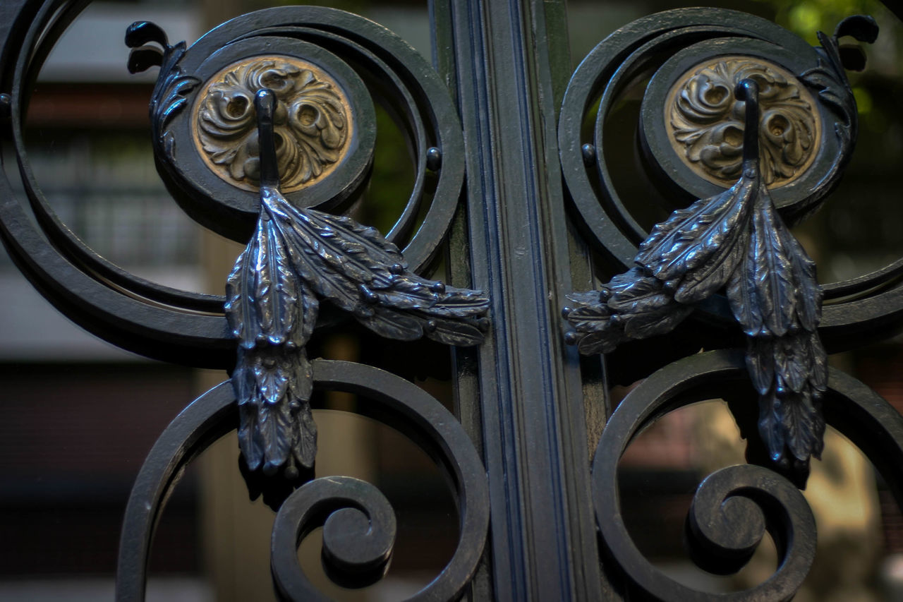 metal, design, wrought iron, close-up, pattern, ornate, no people, day, outdoors, water