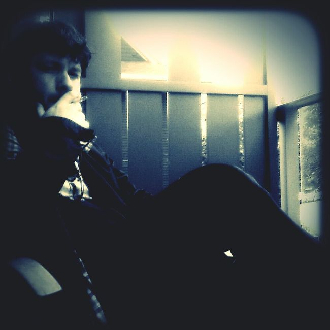 Always caught mid-smoke … even by myself Phoneography Andrography Selfie Xnviewfx