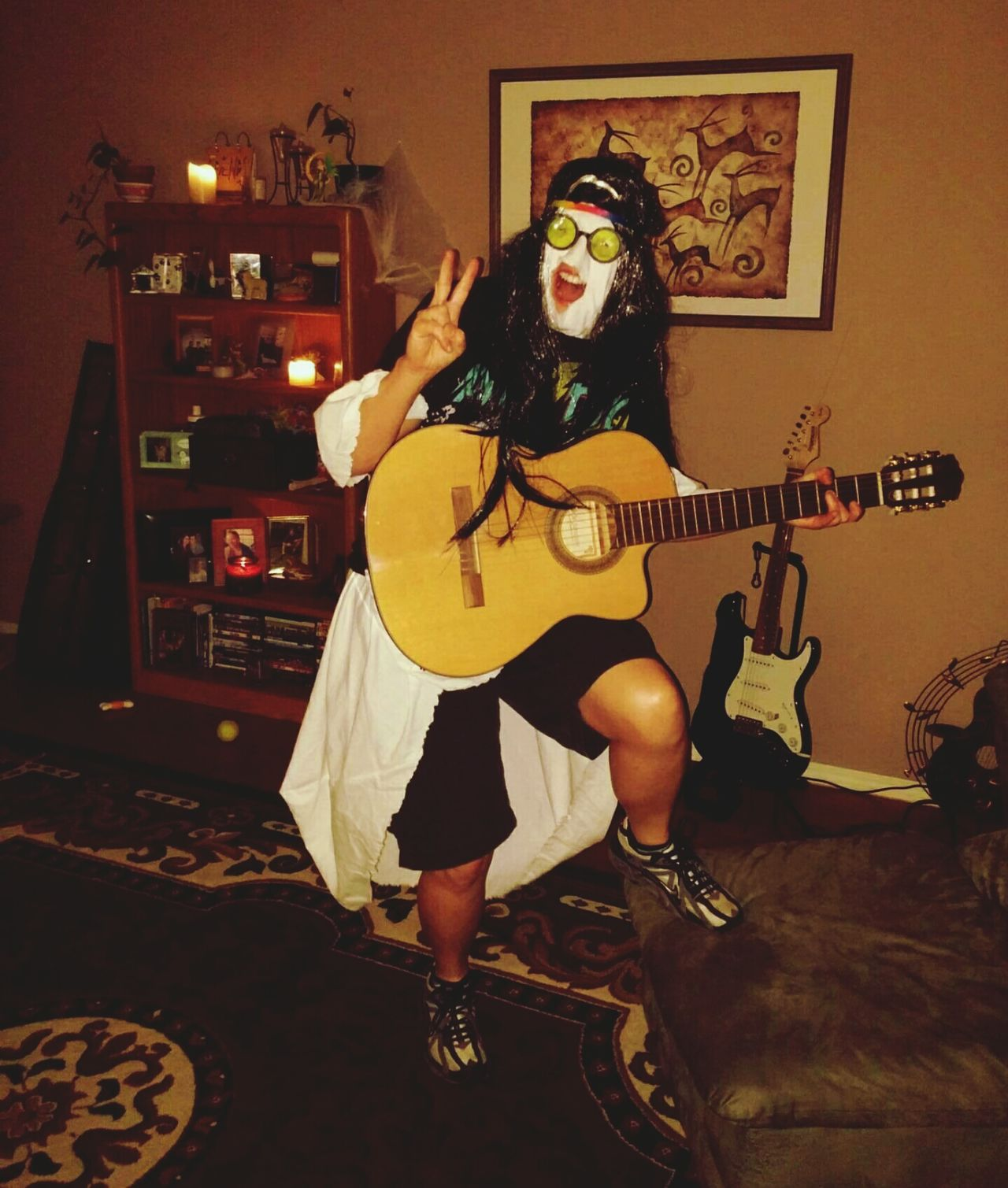 My friend came as ..wait for it....'The Ghost of Me' for halloween!! Haha!! Halloween Ghost Hippie Ghost Showcase: January