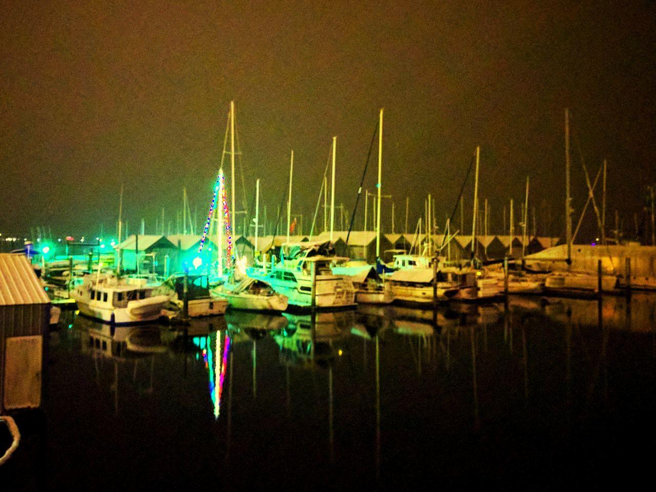 nautical vessel, moored, water, reflection, boat, no people, transportation, harbor, mode of transport, marina, outdoors, night, illuminated, yacht, waterfront, sailboat, lake, mast, clear sky, nature, sky