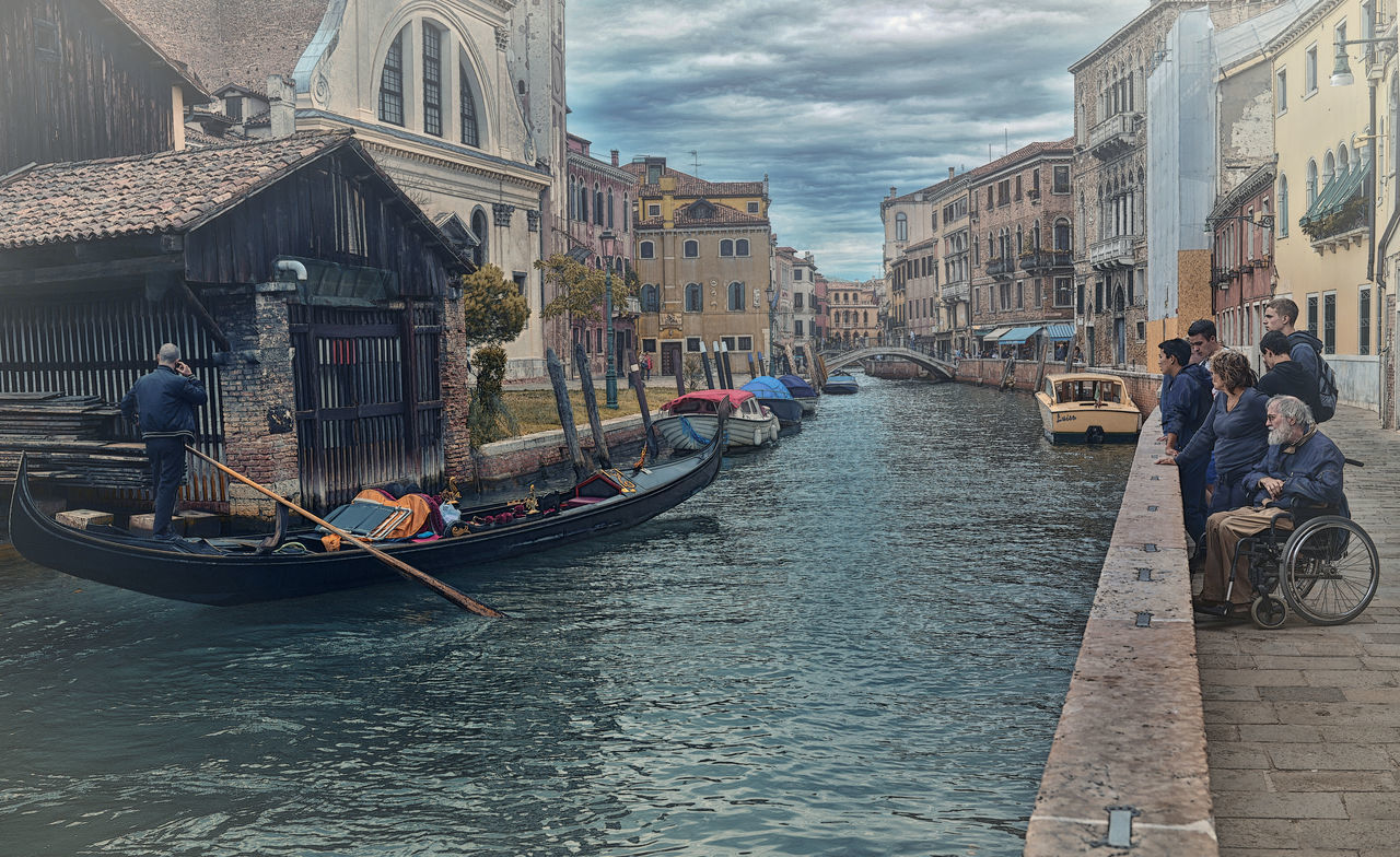 Adult Architecture Building Exterior Canal City Cultures Day EyeEm Gallery Eyewitness Gondola - Traditional Boat Gondolier Leisure Activity Nautical Vessel Outdoors People Sky Tourism Transportation Travel Travel Destinations Venice, Italy